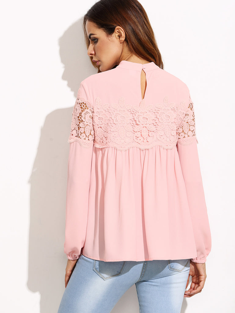 Pink Mock Neck Lace Applique Babydoll Top - The Style Syndrome  - 3