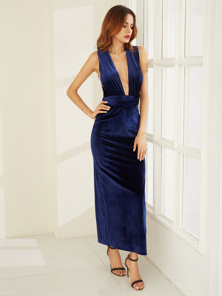 Blue High Slit Velvet Convertible Dress - The Style Syndrome  - 1
