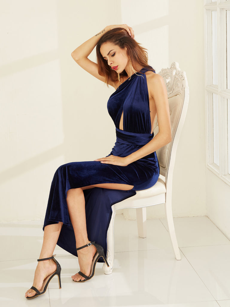 Blue High Slit Velvet Convertible Dress - The Style Syndrome  - 3