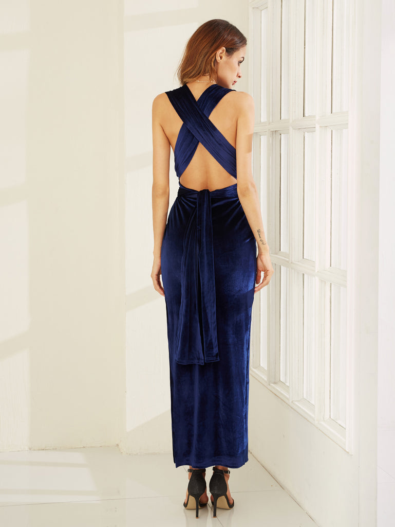 Blue High Slit Velvet Convertible Dress - The Style Syndrome  - 4