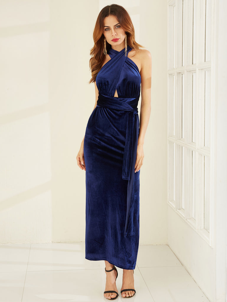 Blue High Slit Velvet Convertible Dress - The Style Syndrome  - 2