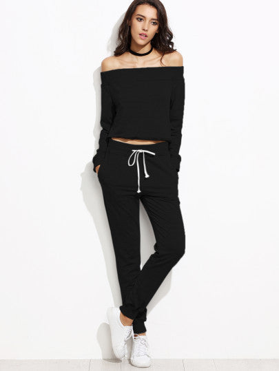 Black Off The Shoulder Top With Drawstring Pants - The Style Syndrome  - 1