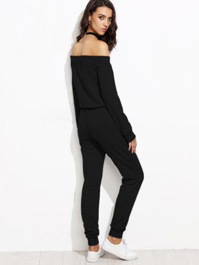 Black Off The Shoulder Top With Drawstring Pants - The Style Syndrome  - 4