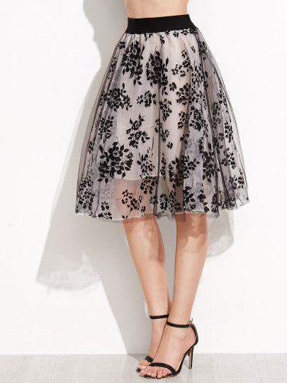 Floral Print Sheer Organza Contrast Elastic Waist Skirt - The Style Syndrome  - 1