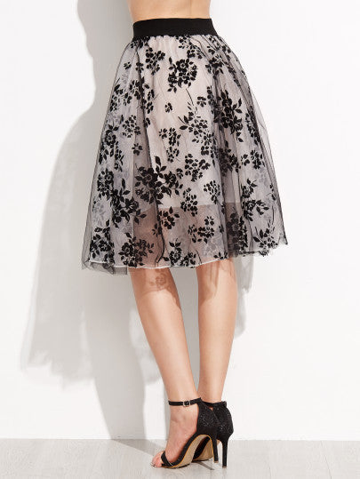 Floral Print Sheer Organza Contrast Elastic Waist Skirt - The Style Syndrome  - 3