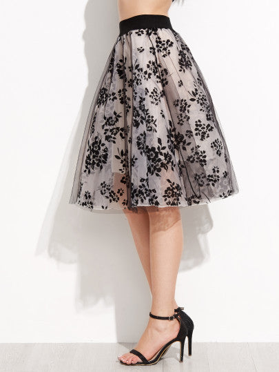 Floral Print Sheer Organza Contrast Elastic Waist Skirt - The Style Syndrome  - 2