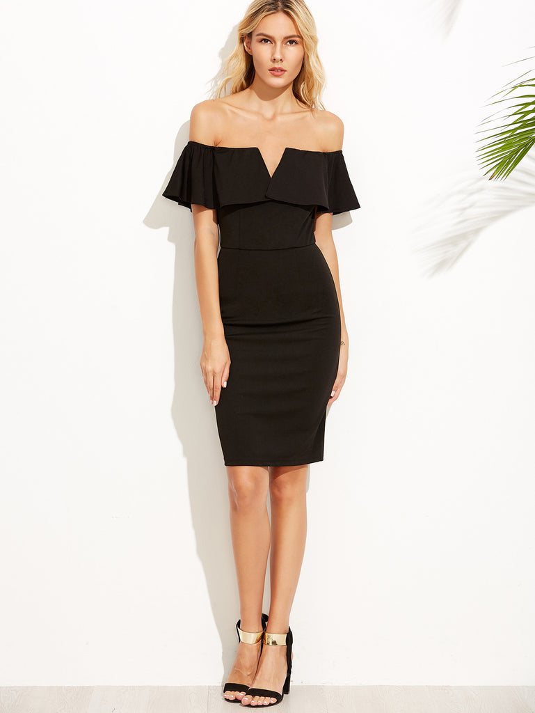 Black V Notch Off The Shoulder Pencil Dress - The Style Syndrome  - 1