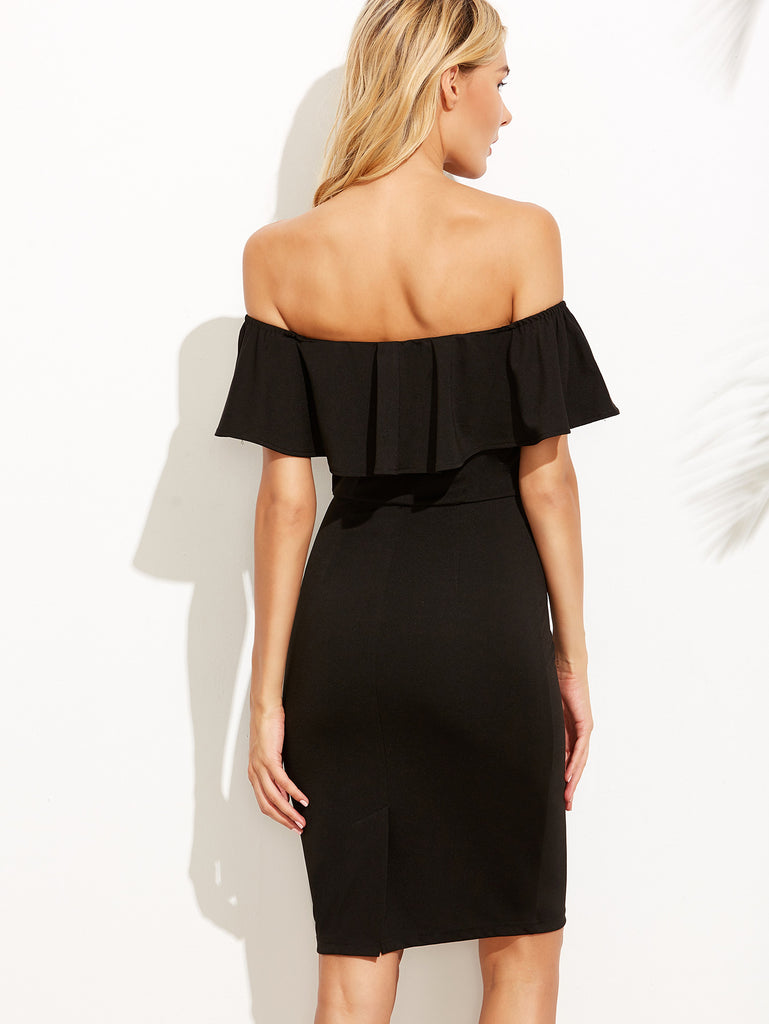 Black V Notch Off The Shoulder Pencil Dress - The Style Syndrome  - 3