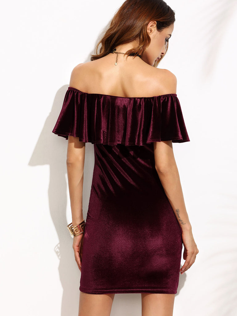 Burgundy Ruffle Off The Shoulder Velvet Bodycon Dress - The Style Syndrome  - 3