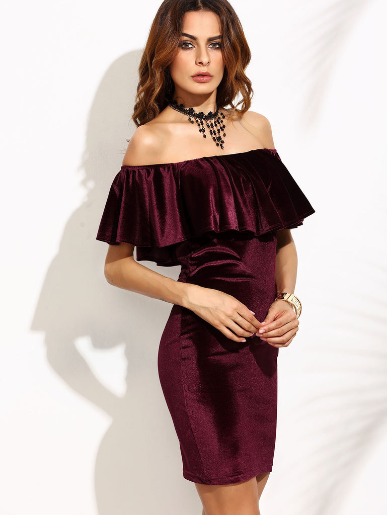 Burgundy Ruffle Off The Shoulder Velvet Bodycon Dress - The Style Syndrome  - 2