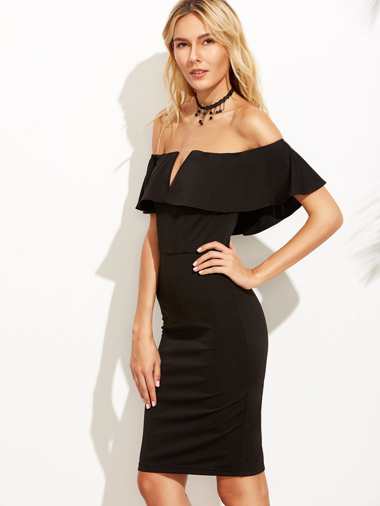 Black V Notch Off The Shoulder Pencil Dress - The Style Syndrome  - 4