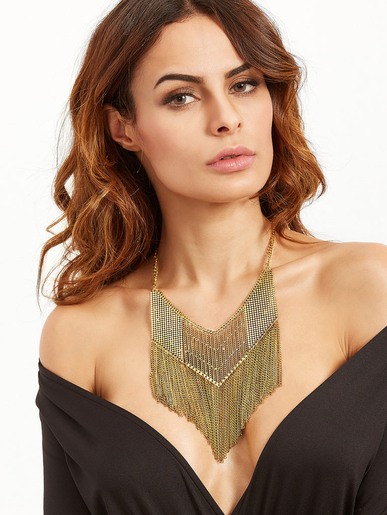 Antique Gold Chain Fringe Hollow Out Statement Necklace - The Style Syndrome