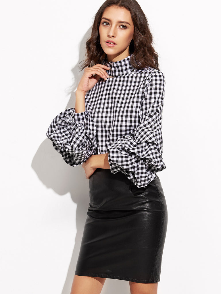 Black Gingham Cutout High Neck Billow Sleeve Top - The Style Syndrome