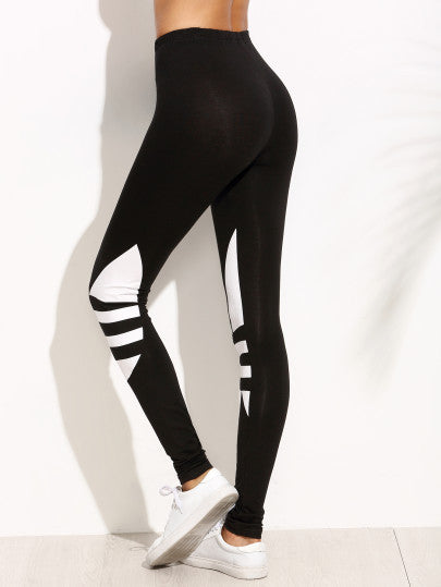 Black Geometric Print Leggings - The Style Syndrome