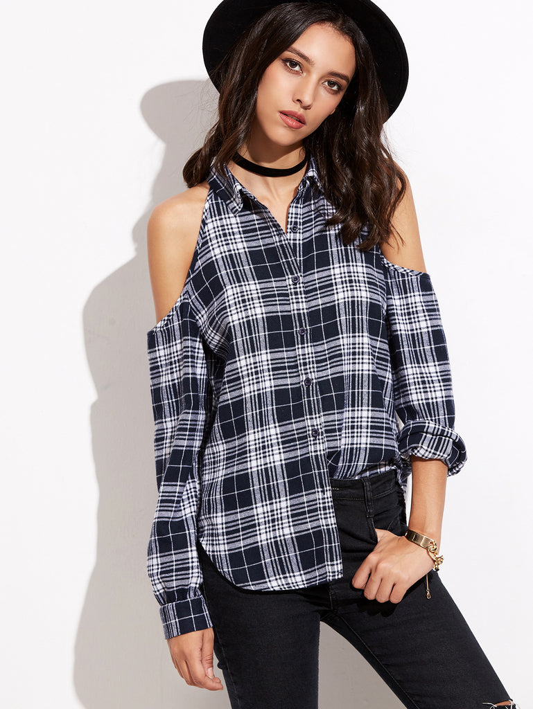 Navy Plaid Cold Shoulder Curved Hem Blouse - The Style Syndrome  - 1