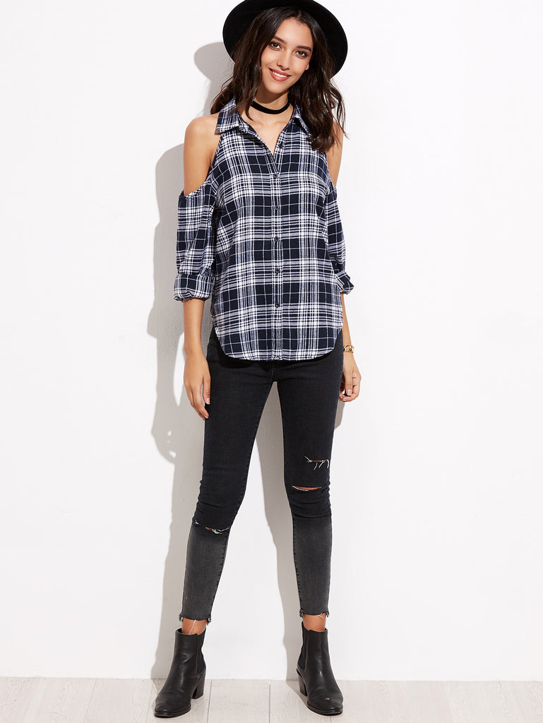 Navy Plaid Cold Shoulder Curved Hem Blouse - The Style Syndrome  - 4