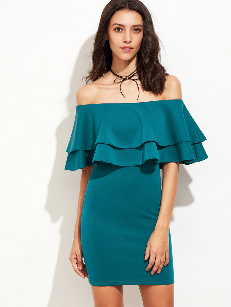 Green Ruffle Off The Shoulder Sheath Dress - The Style Syndrome  - 1