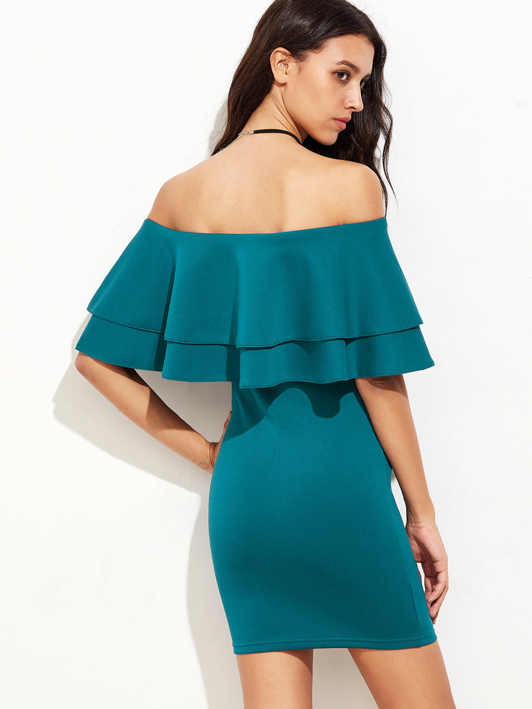Green Ruffle Off The Shoulder Sheath Dress - The Style Syndrome  - 2