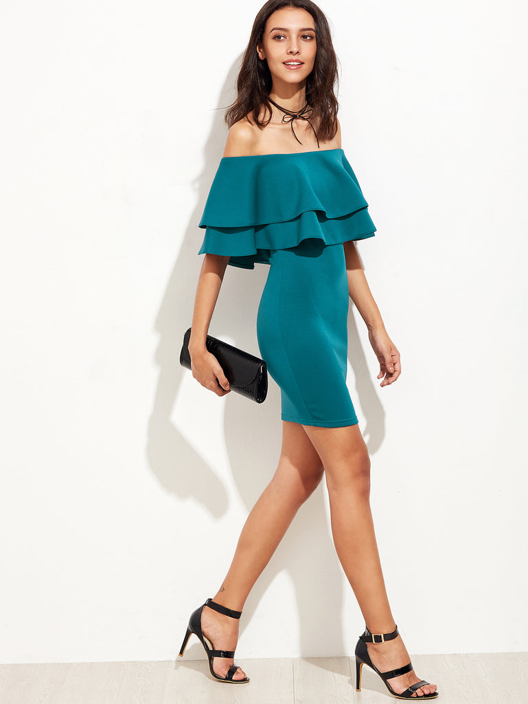 Green Ruffle Off The Shoulder Sheath Dress - The Style Syndrome  - 3