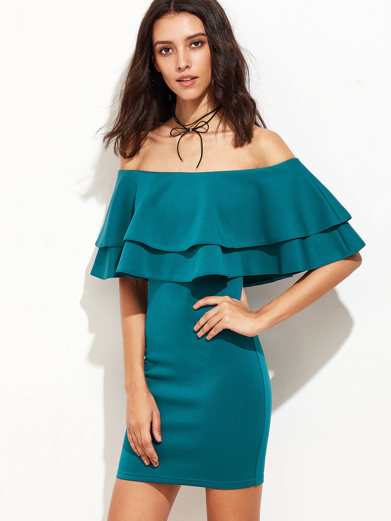 Green Ruffle Off The Shoulder Sheath Dress - The Style Syndrome  - 4