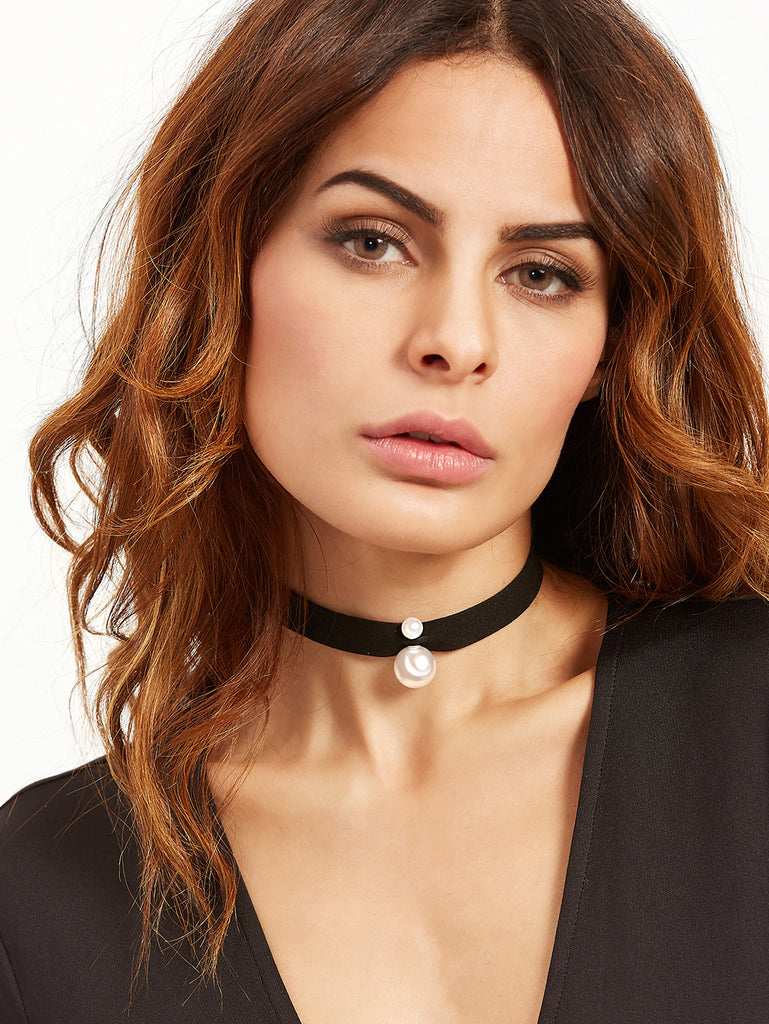 Black Ribbon Faux Pearl Choker Necklace - The Style Syndrome