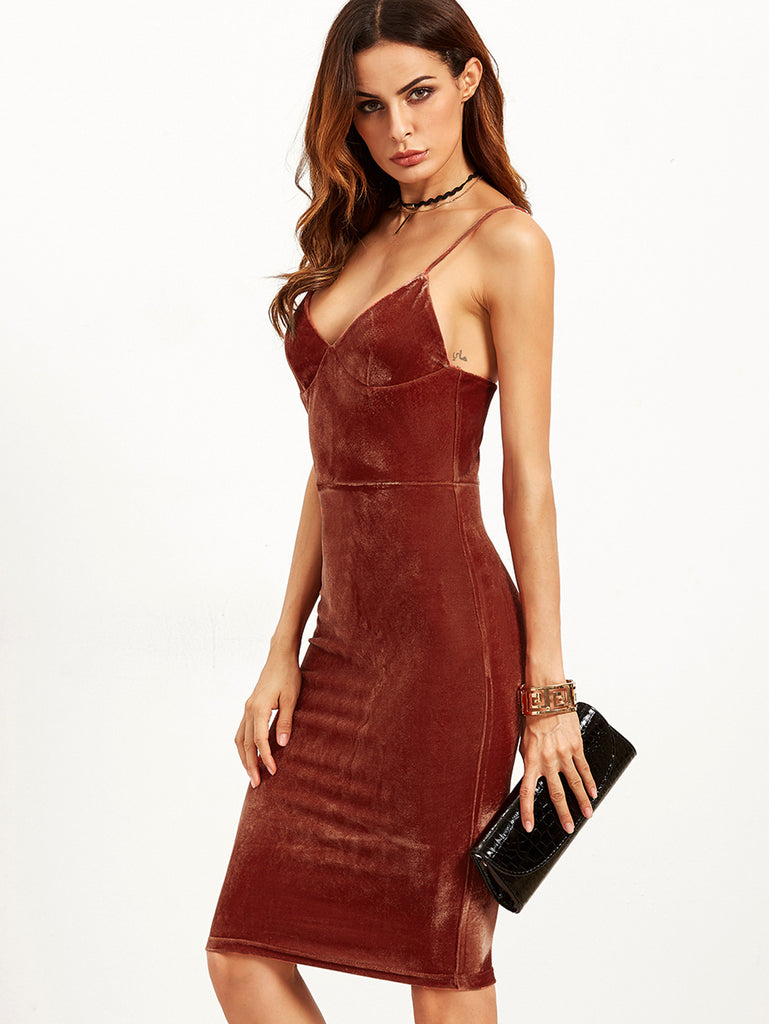 RZX Brick Red Velvet Cami Pencil Dress