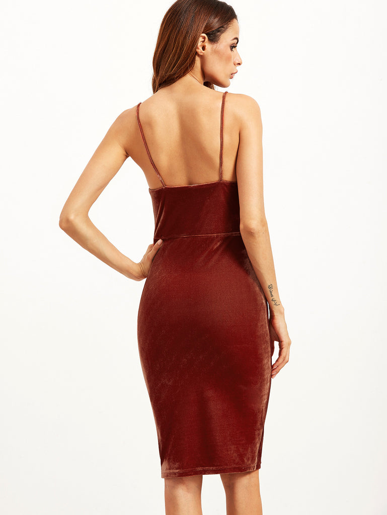 Brick Red Velvet Cami Pencil Dress