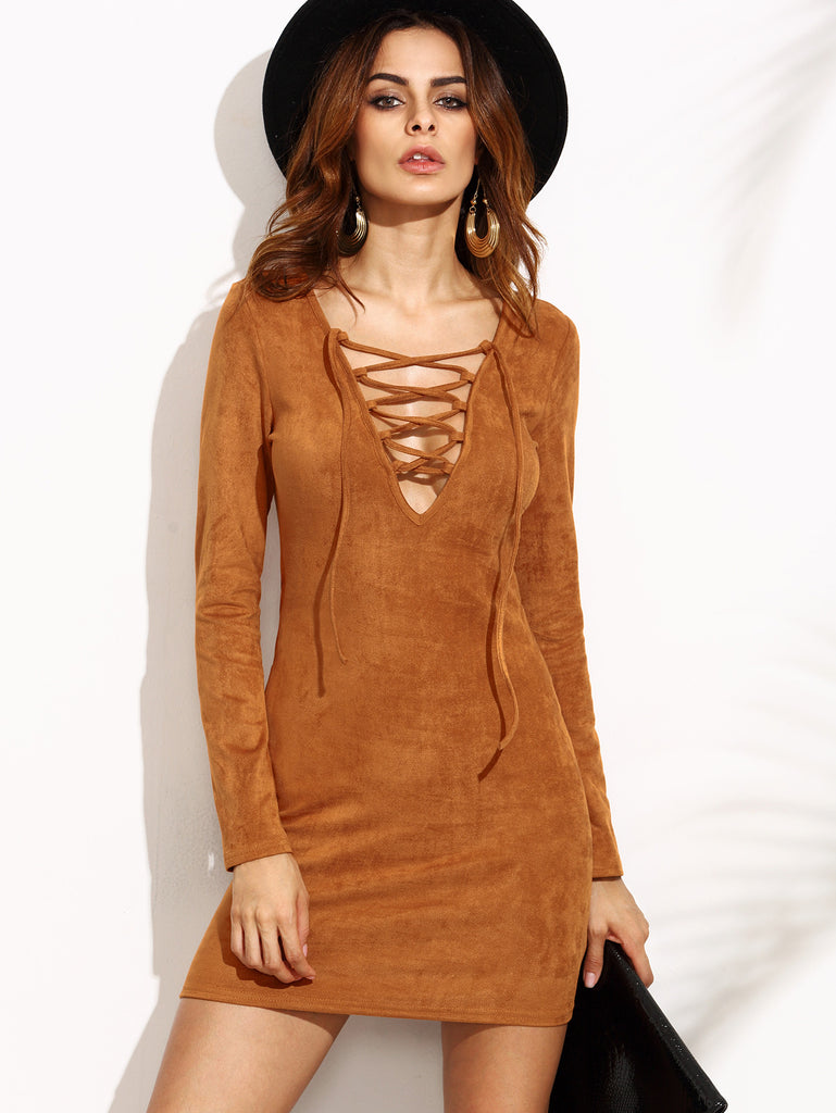 Camel Faux Suede Lace Up V Neck Bodycon Dress - The Style Syndrome  - 1