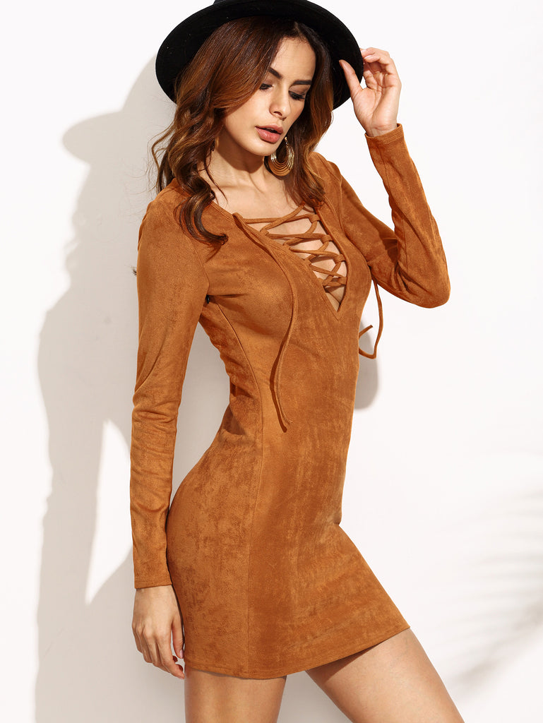 Camel Faux Suede Lace Up V Neck Bodycon Dress - The Style Syndrome  - 2