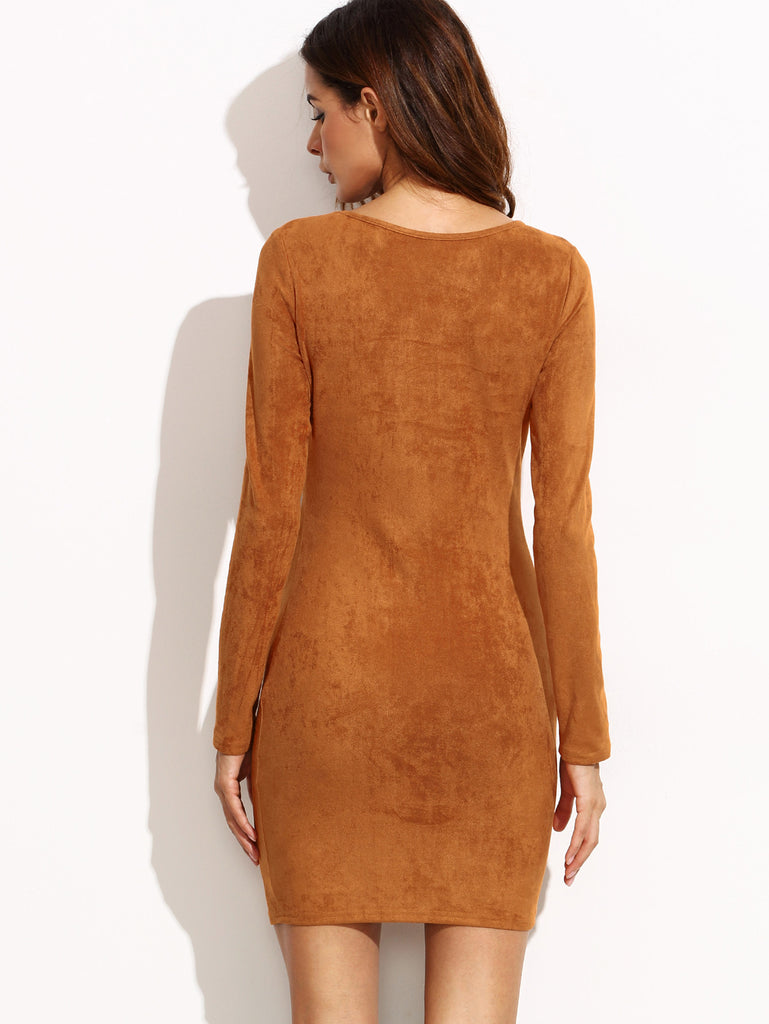 Camel Faux Suede Lace Up V Neck Bodycon Dress - The Style Syndrome  - 3