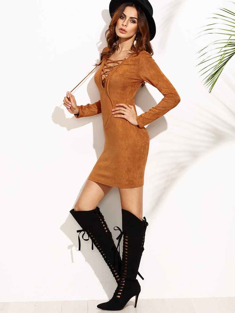 Camel Faux Suede Lace Up V Neck Bodycon Dress - The Style Syndrome  - 4