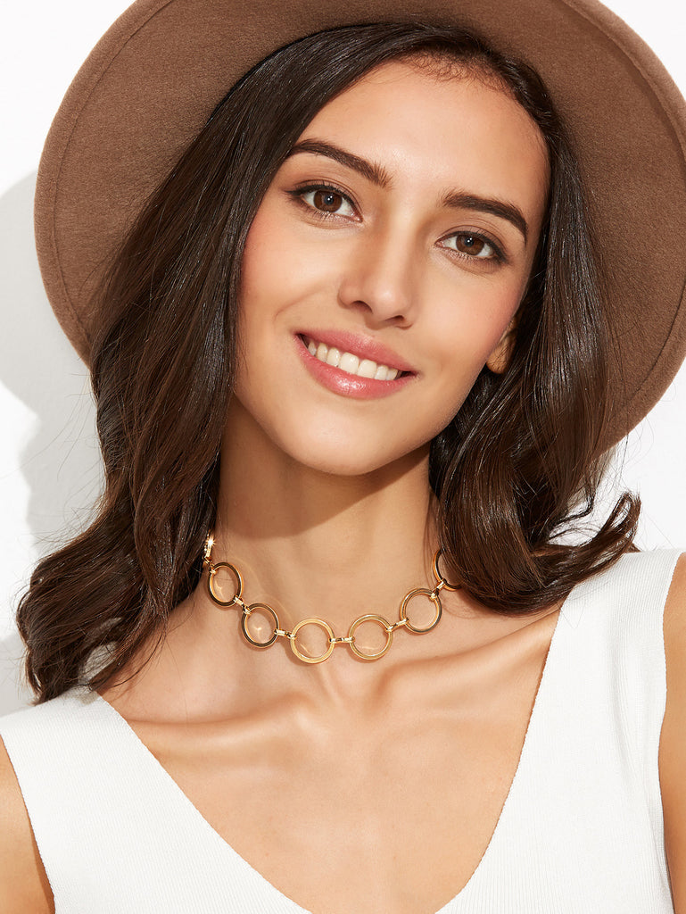 Gold Plated Alloy Circle Hollow Out Choker Necklace - The Style Syndrome  - 1