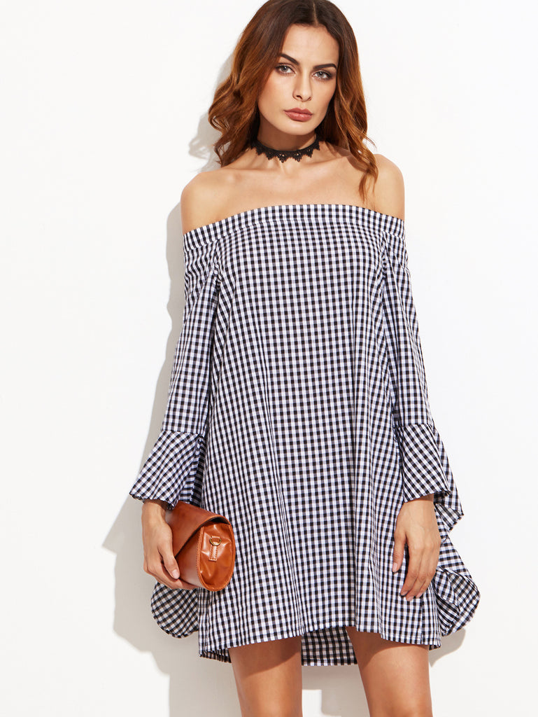Black Gingham Bell Sleeve Off The Shoulder Dress - The Style Syndrome
