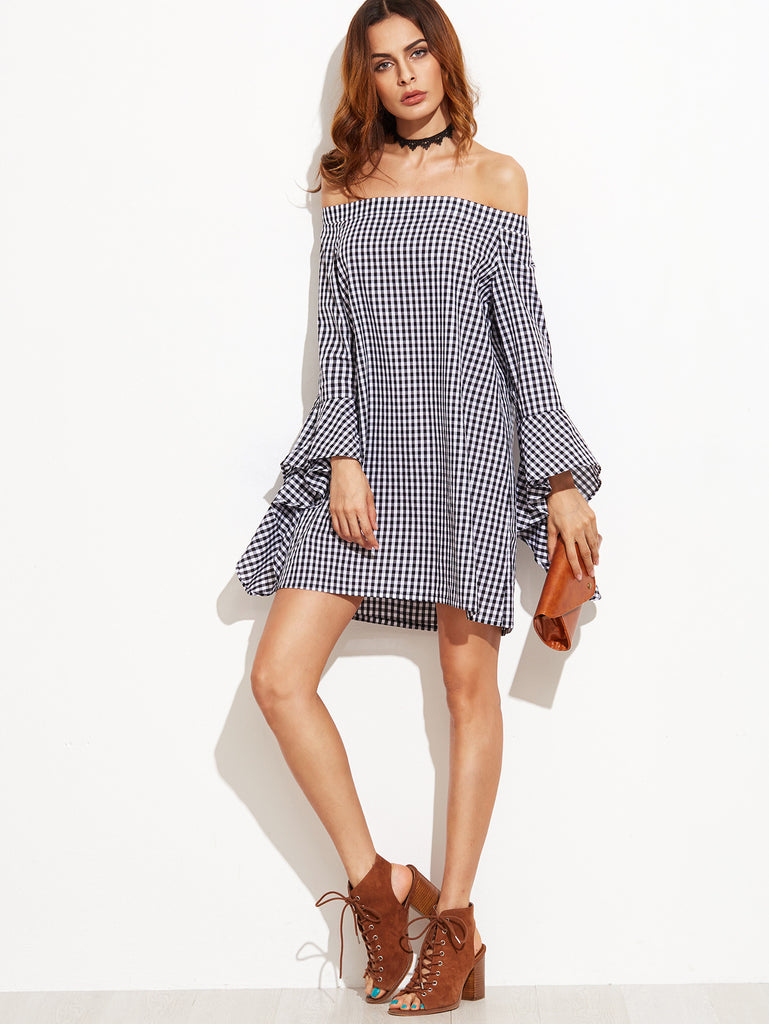 Black Gingham Bell Sleeve Off The Shoulder Dress - The Style Syndrome  - 4