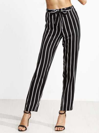 Black Vertical Striped Self Tie Pants - The Style Syndrome  - 1