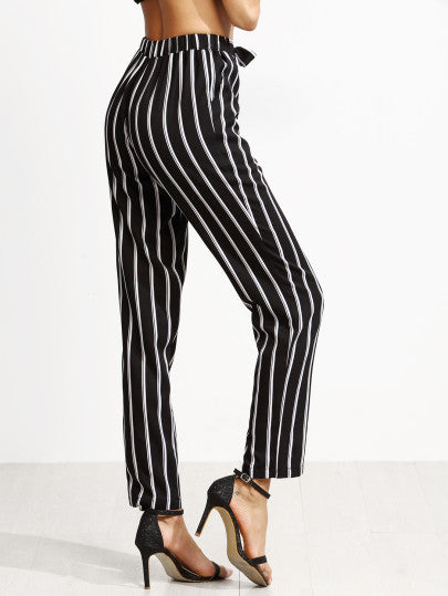 Black Vertical Striped Self Tie Pants - The Style Syndrome  - 3