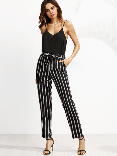 Black Vertical Striped Self Tie Pants - The Style Syndrome  - 4