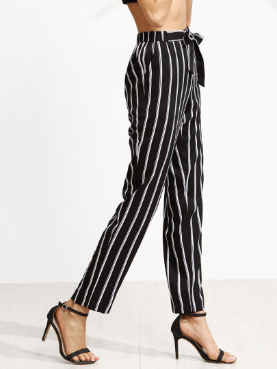 Black Vertical Striped Self Tie Pants - The Style Syndrome  - 2