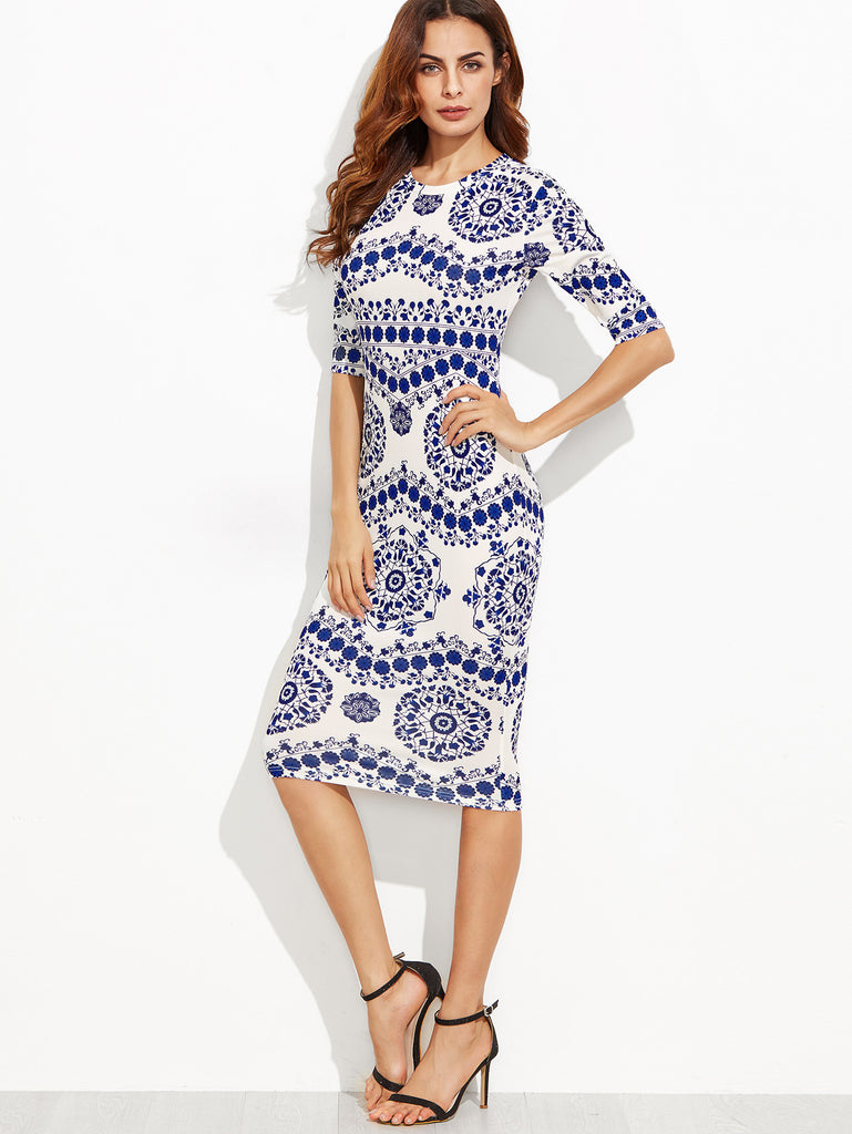 Blue And White Porcelain Print Pencil Dress - The Style Syndrome  - 4
