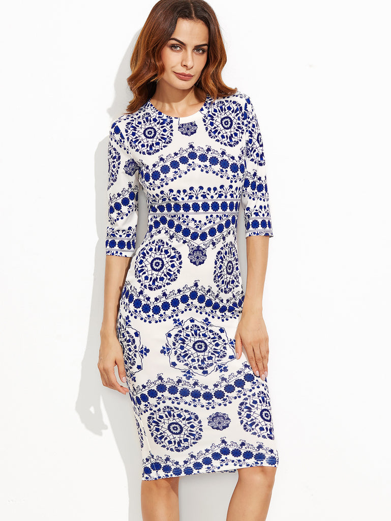Blue And White Porcelain Print Pencil Dress - The Style Syndrome  - 2