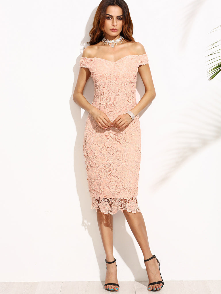 Pink Embroidered Lace Overlay Off The Shoulder Dress - The Style Syndrome  - 1