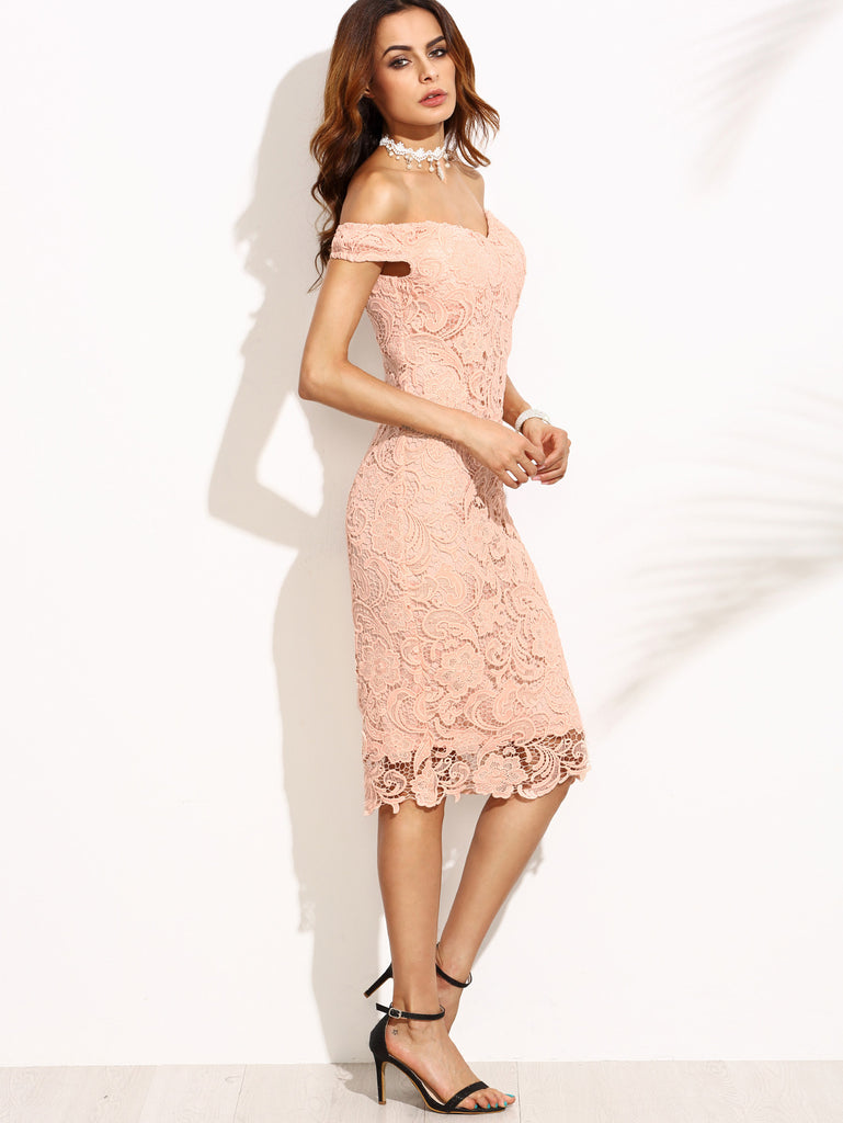 Pink Embroidered Lace Overlay Off The Shoulder Dress - The Style Syndrome  - 2