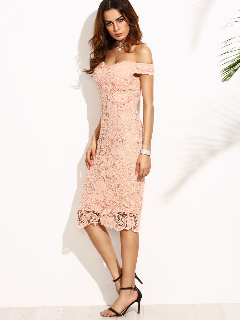 Pink Embroidered Lace Overlay Off The Shoulder Dress - The Style Syndrome  - 3
