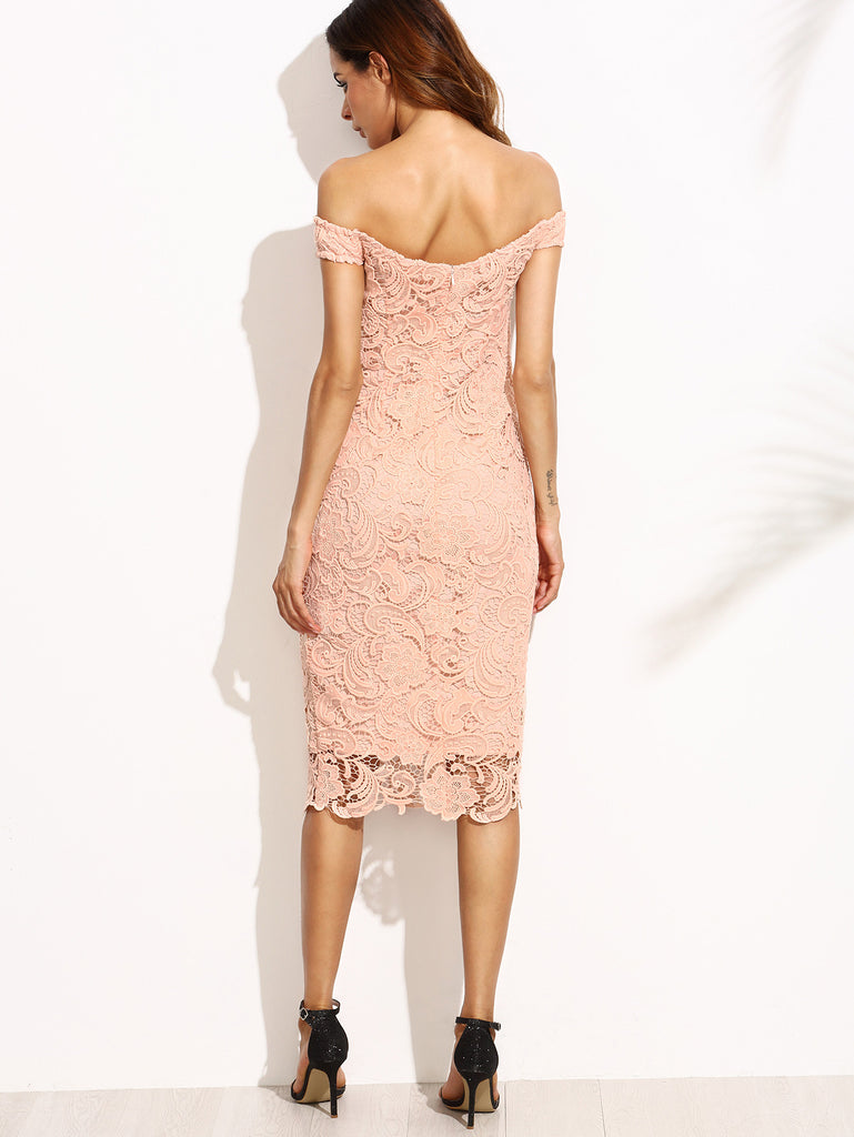 Pink Embroidered Lace Overlay Off The Shoulder Dress - The Style Syndrome  - 4