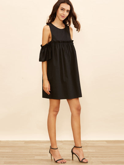 Black Cold Shoulder Frill Babydoll Dress - The Style Syndrome