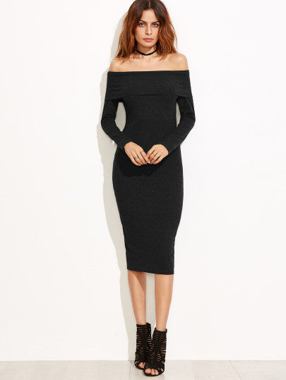 Black Off The Shoulder Pencil Dress - The Style Syndrome