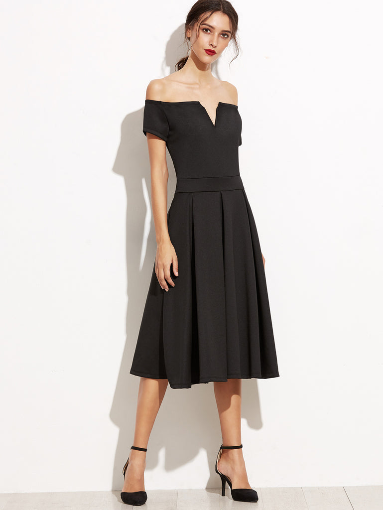 Black Off The Shoulder V Cut Zipper A-Line Dress - The Style Syndrome