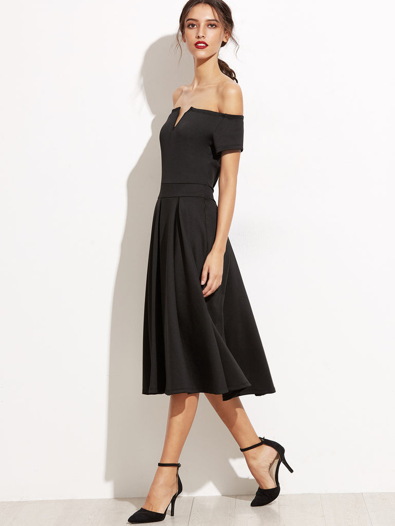 Black Off The Shoulder V Cut Zipper A-Line Dress - The Style Syndrome  - 3
