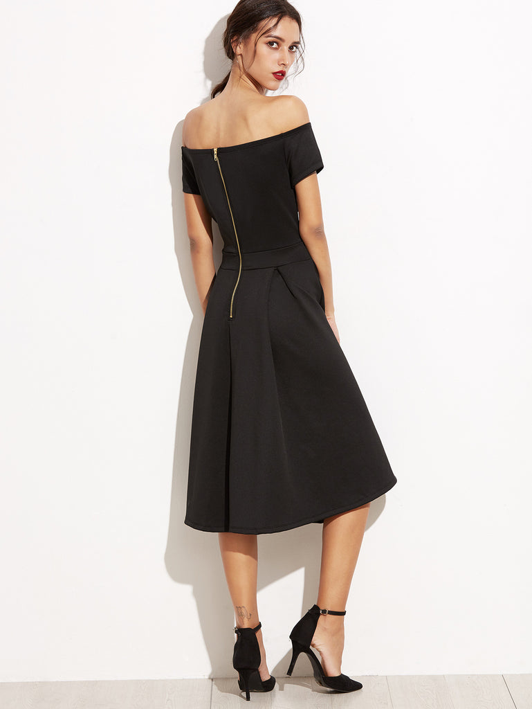 Black Off The Shoulder V Cut Zipper A-Line Dress - The Style Syndrome  - 4