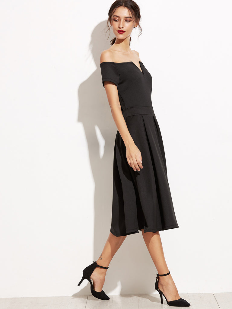 Black Off The Shoulder V Cut Zipper A-Line Dress - The Style Syndrome  - 2